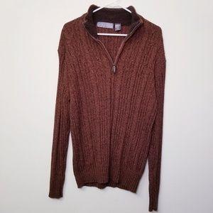 Oscar de la Renta XL Burnt Orange 1/4 Zip Sweater